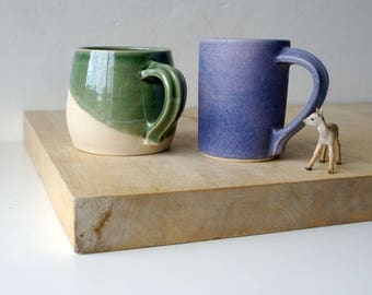 Two geometric style mismatched mugs - glazed in forest green and lavender blue