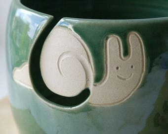 SECONDS SALE - The happy snail yarn bowl glazed in forest green