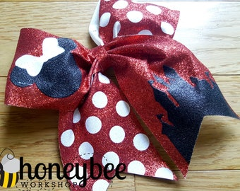 beautiful castle glitter bow - mrs mouse bow polka dots - red and white minnie bow for family vacation