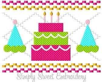 Faux Smocking Birthday Cake Machine Embroidery Design