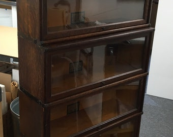 Antique Globe Wernicke 5 Stack Barrister Bookcase Tiger Oak Bottom Drawer 12.5d9.5d34w70.5h Shipping is Not Free