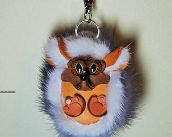 Leather, real fur bag charm. Leather 3D Hedgehog. Gothic fashion keychain. Charm hanger, Purse charm, Key charm, Car accessories, Fur charm
