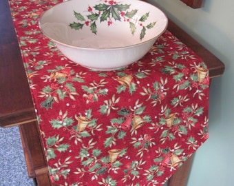 "Red and Gold Table Runner 72"" Reversible Christmas Bells Table Runner Gold Snowflake Table Runner Holly Table Runner Christmas Table Decor"