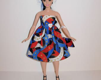 Handmade barbie clothes, CUTE 4th of July dress and bag for new barbie curvy doll