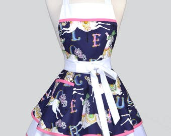 Womens Ruffled Retro Apron . Navy and White Horses on Carousel Womans Cute  Flirty Vintage Pinup Kitchen Apron to Personalize or Monogram