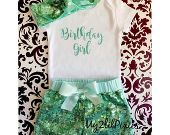 Birthday Girl Onesie , Mint sequin shorts , sparkle head wrap, headband , girls birthday outfit- girls sequin shorts- cake smash