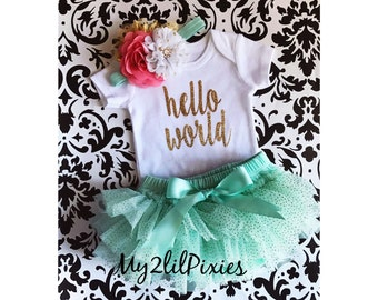 Baby Girl Take home outfit, Tutu Bloomer, Onesie and Headband set- Hello World Personalized Newborn baby Girl Onesie, Newborn baby set