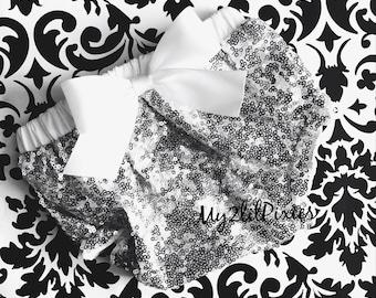 Full Sparkle Sequins Baby Bloomer , White satin Bow, Silver sparkle diaper cover, full sequins bloomer, baby bloomer, Christening Bloomer