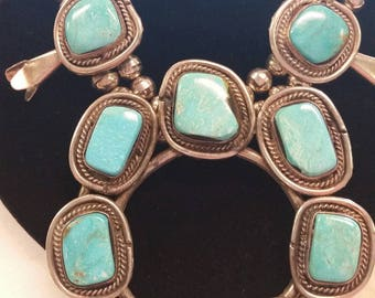 Vintage Handcrafted Native American Turquoise Squash Blossom  Necklace