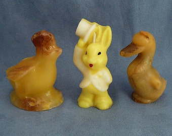 Vintage Easter Candles Bunny in Top Hat & Tails and Chicks Figural Holiday Candles