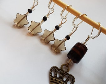 Crown stitch markers - Progress keeper - Set of 5- Crochet - Knitting - Notions