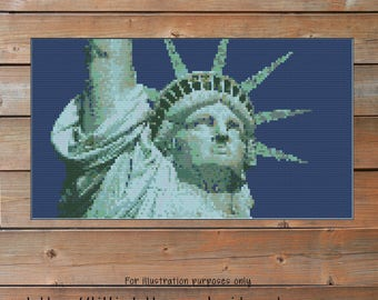 Statue of Liberty Crochet Chart - New York Graph Crochet - Photo Blanket - Corner to Corner - C2C - Written Line Counts - Cross Stitch