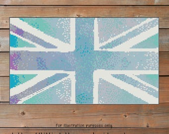 Blanket Pattern Blue Union Jack Crochet Chart - UK Great Britain Graph - Corner to Corner - C2C - Written Line Counts - Cross Stitch