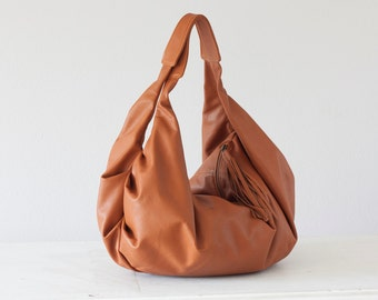 Leather hobo bag brown, shoulder purse slouchy womens bag carryall bag weekend bag overnight bag everyday - Kallia bag