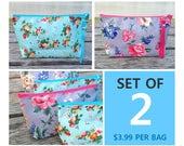3.99 per bag | Set of 2 Floweres on Oilcloth Zipper Pouches | Cosmetic bag | Gift bag | Reusable bag | Waterproof bag | Party bag | Wet bag