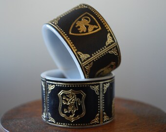 vintage  napkin rings - set of eight - embossed faux leather- Italian Icons - multi colors  - Historical - Renaissance