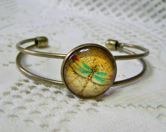 Green Dragonfly Cuff Bracelet - Dragonfly Art Bracelet - Antiqued Gold Bronze - Green & Red Dragonfly symbol of change - Gift for Mom