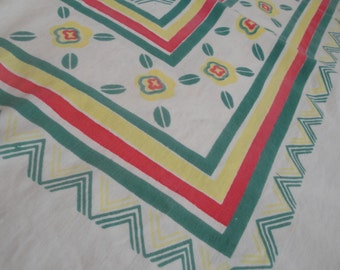 Vintage Green Floral Table Cloth 59 X 51