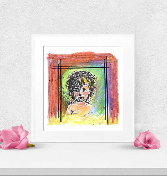 Instant Art, Bohemian Cherub Print, Mixed Media, Digital Art, Digital download, instant art, Valentine art, digital download clipart
