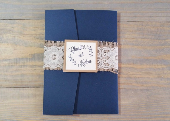 rustic navy wedding invitation, burlap and lace wedding invitation, navy blue wedding, rustic wedding invitation, fall wedding invitation