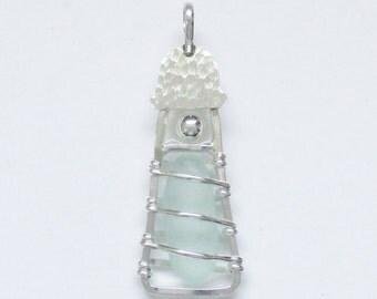 Sea Glass Jewelry - Sterling Seafoam Sea Glass Lighthouse Pendant