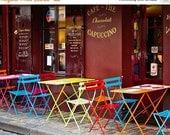 ON SALE Paris Decor, Colorful Paris Bistro Cafe, Paris Photograph, Montmartre, Fine Art Photograph, Paris Print - Cafe Color