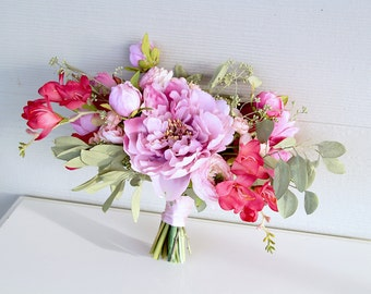 Small Wedding Bouquet Silk Flowers | Fuchsia and Orchid Pink | Loose Peony Bridal Bouquet | SG-1013