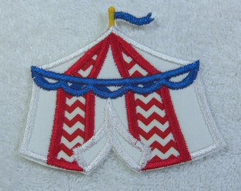 Circus Tent Fabric Embroidered Iron on Applique Patch Ready to Ship