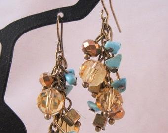 XMAS SALE Turquoise Nugget Crystal Bronze Chandelier Earrings Vintage Jewelry Jewellery