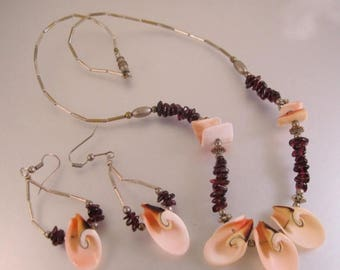SALE ON Ends 4/30 Genuine Garnet and Shell Necklace & Earrings Set Vintage Jewelry Jewellery