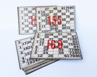 5 Vintage Large Game Cards, Keno Game, Lotto Cards, Numbered Game Boards, Bingo Cards, Mixed Media Supply, Game Ephemera, Game Room Decor