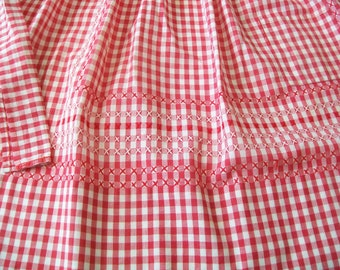 Vintage Apron, Hand stitched, red, white, gingham, checked, 1960s