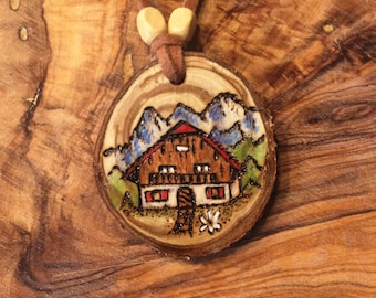 Alpine Pendant from Natural Wood Original Art Jewelry Hand Made in Germany
