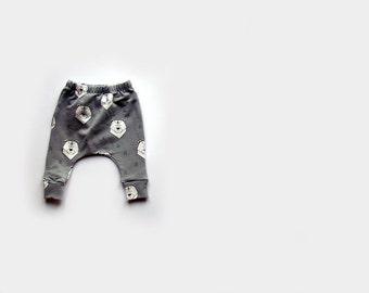 Baby Slim fit Harem pants, trousers, in grey polar bears