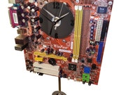 Rare Orange Motherboard Pendulum Wall Clock. Unique for a Geek. Gifts for Him. Great Geek Gift!