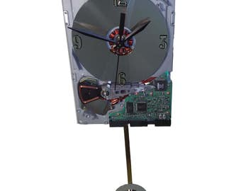 SALE 10% OFF. Hard Drive Pendulum Clock, 1980s IBM Hard Drive. Pendulum is a Laptop Disk. Historical Gadget. Got Office Gift, Lobby Clock?
