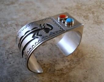 """Vintage Navajo Roscoe Scott Overlay Sterling Silver """"Walking Stick"""" Unique Design Bracelet"""