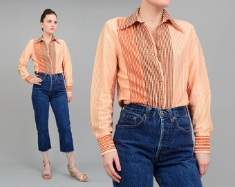 Vintage 70s Striped Shirt Metallic Lurex Boho Blouse, Fitted Button Up, Long Sleeve Disco Shirt, Gold Brown Small Medium S M