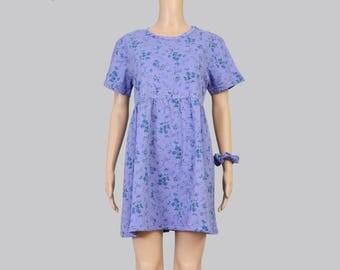 Vintage 90s Purple Floral Babydoll Dress | Boho Grunge T-shirt Dress | Cotton Tee Shirt Mini Dress with Hair Scrunchie | Small Medium S M