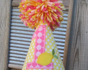 Lemonade Themed Birthday Hat   Lemonade Birthday Hat  Lemonade Hat  First Birthday