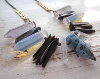 Blue Quartz, Opalite, and Fluorite Stone Bib Necklace - Antique Brass Chain - 24-inch Layering Necklace