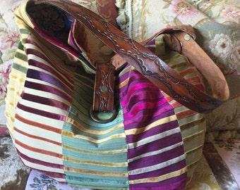 Velvet Chenille Stripes, Hobo Handbag, Vintage Leather Belt