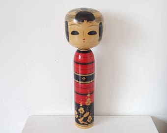 Japanese Kokeshi Doll Big Wooden Doll Home Decor Black Red Design Blonde Wood