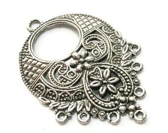 Antique Silver Cascading Floral Chandelier Pendant/Drop (44mm)