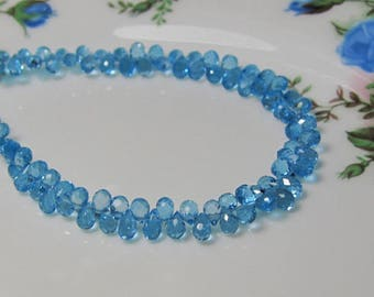 "4"" Strand - Outrageous AAA Transparent Swiss Blue TOPAZ Micro Faceted Teardrop Briolettes"