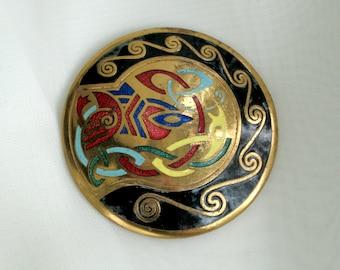 Celtic Brooch Vintage 60s Jewelry Enamel Design on Gold Plate Pin