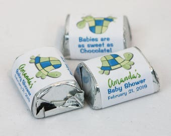 Turtle Bay Candy Wrapper Stickers Personalized Nugget Party Favors, Turtle Baby Shower or Birthday