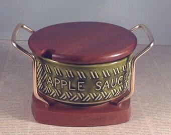 Vintage Apple Sauce Pot, Wyncraft pottery and teak apple sauce server, Studio Ware Table Condiment