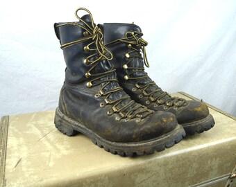 Rare Vintage Distressed Herman Survivor Work Engineer Boots Leather Lacer Sport Boots