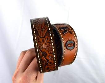Vintage Floral Tooled Leather Belt - Textan - BUKO - Size 28